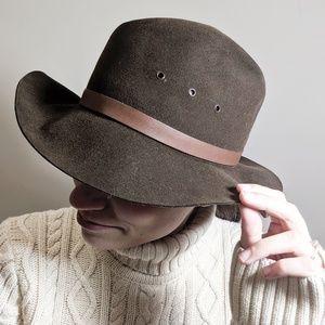 Nordstrom Wide Brim Wool Dark Brown Fedora